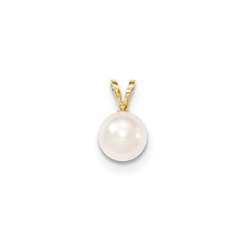 14k Yellow Gold 8mm Round White Saltwater Akoya Cultured Pearl Pendant Charm Necklace Fine Jewelry For Women Gift Set