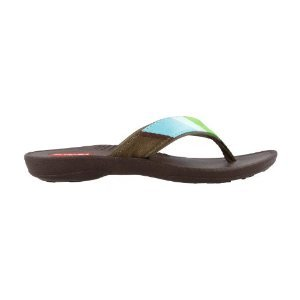 Okabashi Indigo Thong Sandals (Women's), Brown/Aqua, M(7-8) M/B (Brown Thong Slippers)