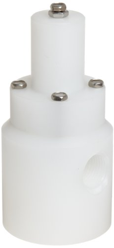 """Plast-O-Matic RVD Series Polypropylene Relief Valve for Low Through High Pressure, For Corrosive and Ultra-Pure Liquids, 5-100 psi Pressure Range, 1/2"""" NPT Female from Plast-O-Matic"""
