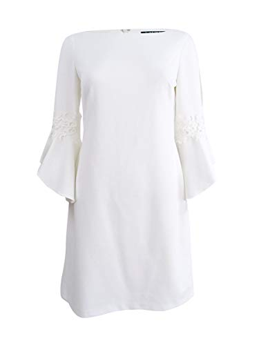 (LAUREN RALPH LAUREN Womens Demi Split Sleeve Boatneck Shift Dress White 12)