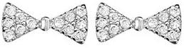 1001 Bijoux-Pendientes, diseño de lazo, diseño de varilla rodiado óxidos blancos engarzar