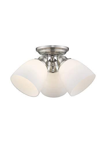 Livex Lighting 13664-91 Somerville 3-Light Ceiling Mount, Brushed Nickel (Livex Light Fixture)