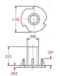 4 Prong T-NUT 3//8-16 X 5//16 Length Press-in Threaded Insert for Wood OR Plastic. Pack of 25 Steel