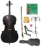 GRACE 4/4 Size Black Cello with Bag and Bow+Rosin+Extra Set of Strings+Tuner+Cello Stand+Music Stand