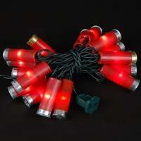 Novelty Lights, Inc. 20LT-BUCKS-G-RE Commercial Grade Shotgun Shell Mini Light Set, Green Wire, Red Color Shells, 20 Light, 4