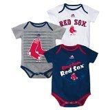 Majestic Boston Red Sox Triple Play 3 Pack Bodysuit Onesie Set