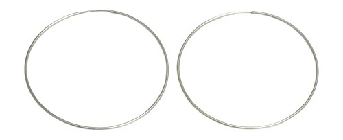 - Extra Large Sterling Silver Continuous Endless Wire Hoop Earrings (1mm Tube) (76mm)