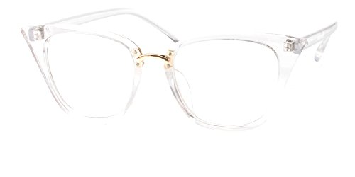 SOOLALA Womens Quality Readers Stylish Oversized Cat Eye Custom Reading Glasses, Trans, ()