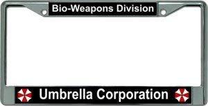 Umbrella Corporation Bio Weapons Chrome License Plate Frame (Umbrella Frames)