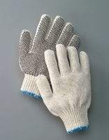 Radnor Ladies Natural Medium Weight Polyester/Cotton String Gloves With Knit Wrist And Single Side Black PVC Dot Coating