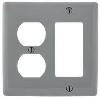 HUBBELL WIRING DEVICES NP826GY WALL PLATE, 2 GANG, 1 DUPLEX, GREY (50 pieces) ()