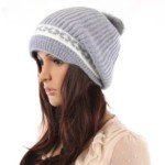 Stylish Design Rabbit Hair Knitting Leisure Hat with Hair Ball Top for Girls(Grey)