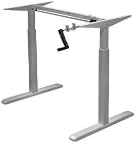 Canary Products Height Adjustable Crank Desk Frame, Tabletop Not Included, 48 Inch Max, Grey