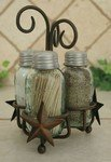 Star Salt Pepper and Toothpick Caddy Rustic Brown Finish