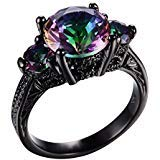 Mystic Rainbow Fire Topaz Ring Black Gold Jewelry for Women/Men (8)
