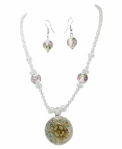 Venetian Glass Square Pendant (Clear Flower Murano Venetian Glass Beaded Pendant Necklace Earring Set)