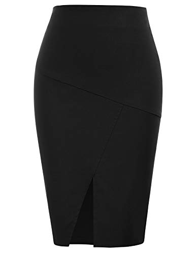 Kate Kasin Women's Bodycon Pencil Skirts Solid Color Hip-Wrapped
