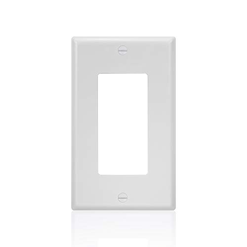 10 Pack - Single-Gang Cover Plate Decorator - UL Listed - GFCI Plastic Wall Plate, White ()