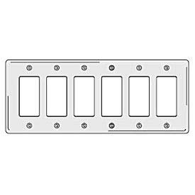 Bryant NP266W Styleline Rectangular Plate, 6-Gang, Standard, White Nylon(Pack of 5)