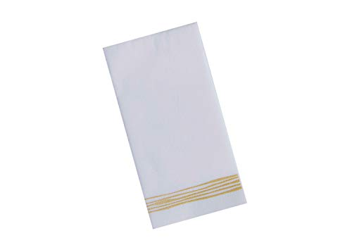 Disposable Hand Towels | Decorative Linen-Feel Paper Napkins | Soft, Absorbent Disposable Paper Guest Towels for Kitchen, Bathroom, Parties, Weddings, Dinners Or Events White and Gold Napkins 100 Pack ()