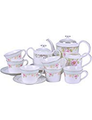 Mose China 15 Piece Premium Bone China Tea Cup Set Service for 6 Complete Coffe Cup Set Royal England Style Rose Red Garden Flowers and Leafs with White-Gold Trim ()