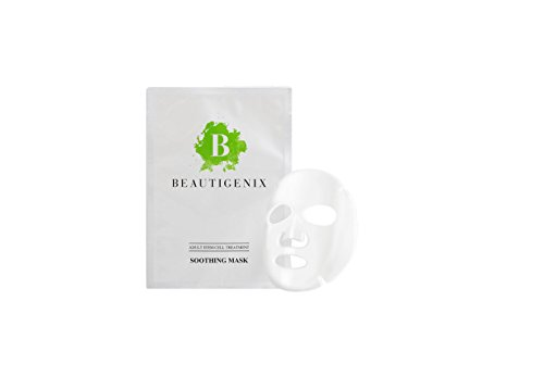 Price comparison product image Beautigenix Korean Facial Sheet Mask Soothing After Sun and Apres Ski Relief Serum with Regenerative Stem Cell Reduce Redness and Puffiness for a Calming Glow Mask and Facial Care and Instruction PDF