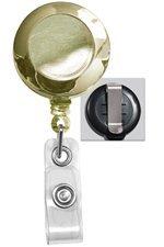 Gold Round Badge Reel - Belt Clip - Clear Vinyl Strap (100pk)