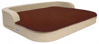 Orthopädisches XXL Hundekissen Medical Style Plus 80x100x13cm Kunstleder beige mit brauner Decke