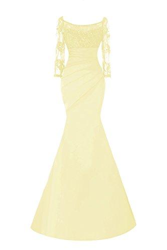 Queenmore Women´s Long Sleeve Mermaid Formal Mother Evening Dress Trumpet Long US24W Daffodil