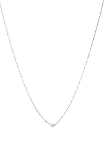 Mini Necklace Heart - HONEYCAT Crystal Micro Pave Mini Heart Necklace in Rhodium Plate | Minimalist, Delicate Jewelry (Silver)