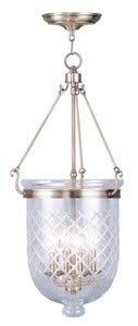 (Livex Lighting 5075-01 Jefferson - Four Light Chain Hanging Lantern, Antique Brass Finish with Clear Diamond Glass)
