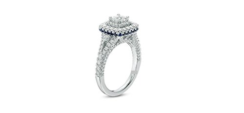(VERA WANG LOVE COLLECTION 1.85CT TCW PRINCESS & ROUND CUT DIAMOND BLUE SAPPHIRE 14K WHITE GOLD ENGAGEMENT WEDDING RING, ALL US SIZE 4 TO 13 AVAILABLE)