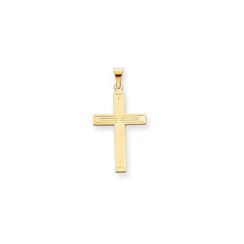 14k Yellow Gold Solid Cross Religious Pendant Charm Necklace Latin Fine Jewelry Gifts For Women For Her ()