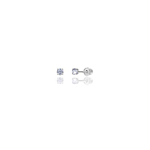 14kt Solid White Gold Superbright Clear Cz Basket Setting Round Screwback Stud Earrings (2mm) ()
