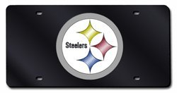 - Pittsburgh Steelers BLACK Laser Etch Cut Mirrored License Plate Tag Football