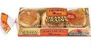 Thomas' Hearty Grains 100% Whole Wheat English Muffins, 12 oz (Pack of 2) -