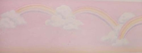 Rainbows, Clouds and Stars on Pink Backround Wallpaper Border BH1939 (Wallpaper Cloud Border)