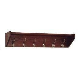 Wooden Mallet 37-Inch 6-Brass Hook Shelf, Mahogany