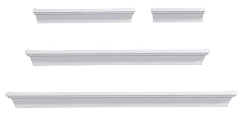 MELANNCO Floating Wall Mount Molding Ledge Shelves Set of 4 White (Renewed)