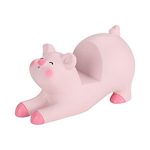 Seninda Cute Phone Holder Lovely Pink Pig Cellphone Stand Desk Business Cards Holder Glasses Holder Desktop Accessories Office Decor (Shape A)
