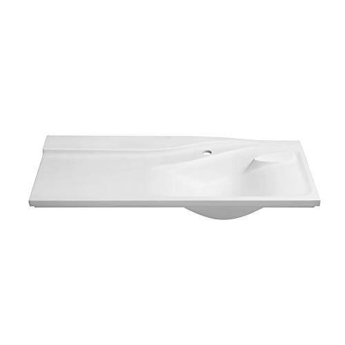 """42"""" Vento Rectangular Ceramic Sinktop with Single Faucet Hole & with out Overflow in White"""