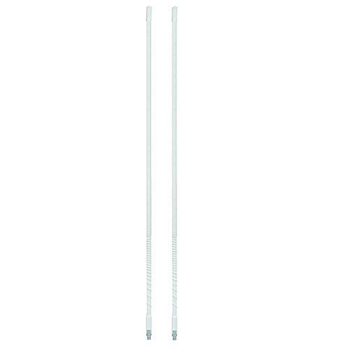 LOT OF 2 ARIES 10818 4` Foot Fiberglass 500 Watt CB Radio Antenna (WHITE) - Foot Cb Antenna