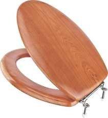 PREMIER 296396 Elongated Wood Veneer Toilet Seat with Closed Front, (Wood Veneer Toilet Seat)