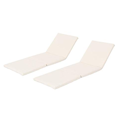 Jamaica Chair Cushion - Christopher Knight Home Jamaica Outdoor Water Resistant Chaise Lounge Cushion (Set of 2) (Cream)