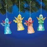 Blue Breeze Set of 4 Lighted Christmas Tree Angel Ornaments