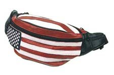 (Genuine Leather USA Flag Fanny Pack, Stars & Stripes Waist Bag or Belt Bag. Great for Travel or Everyday Use )