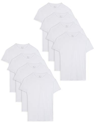 Fruit of the Loom Men's Active Cotton Blend Lightweight Crew T-Shirts, White (8 Pack), X-Large ()