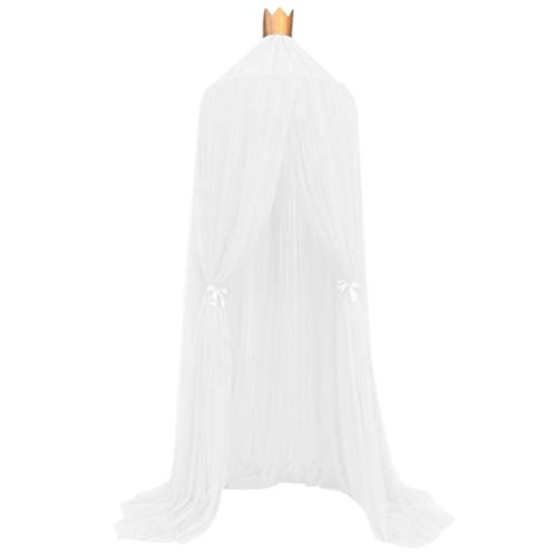 Bed Canopy Mosquito Net for Kids, Iuhan Mosquito Net Bed Canopy Yarn Play Tent Bedding for Kids Playing Reading with Children Round Lace Dome Netting Curtains Baby Boys and Girls Games House (White)