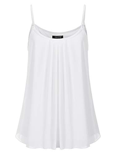 (SSOULM Women's Sleeveless Pleated Chiffon Layered Cami Tank Top Blouse OFFWHITE 2XL)
