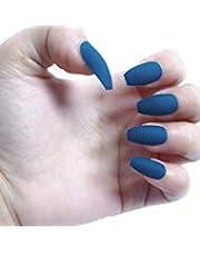 BloomingBoom False Nail Coffin 24 Pcs 12 Size Fake Nails Full Cover Long Fake Nail Press on Salon Pre Design Ballerina Pure Color Elegant Matte Royal Blue Grey